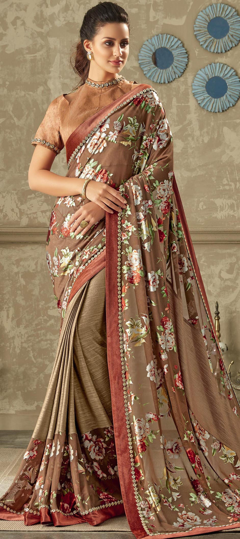 Lycra Casual Saree in Pink and Majenta with Lace work