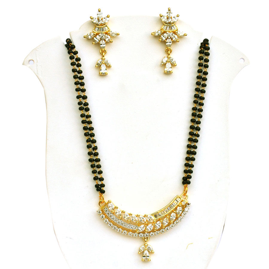 Gold Rodium PolishWhite and Off White Mangalsutra in Brass with Pearl