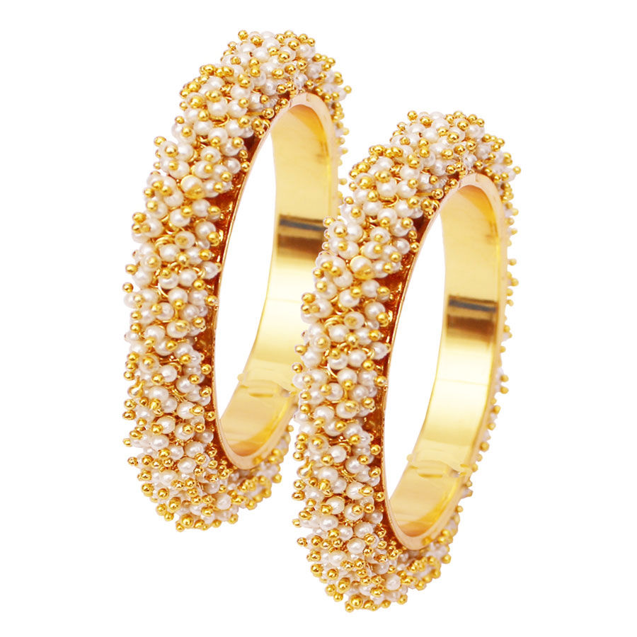 Gold Rodium Polish White and Off White Bangles in Metal Alloy with Pearl