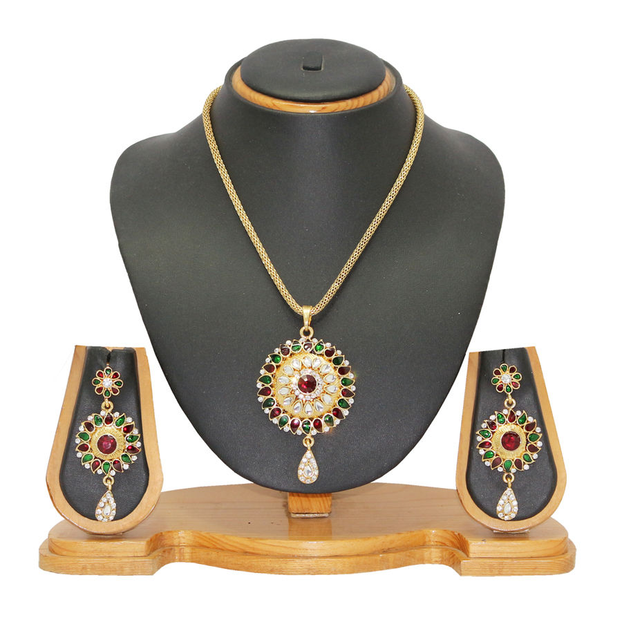 Enamel Red and Maroon Pendant in Metal Alloy with Kundan