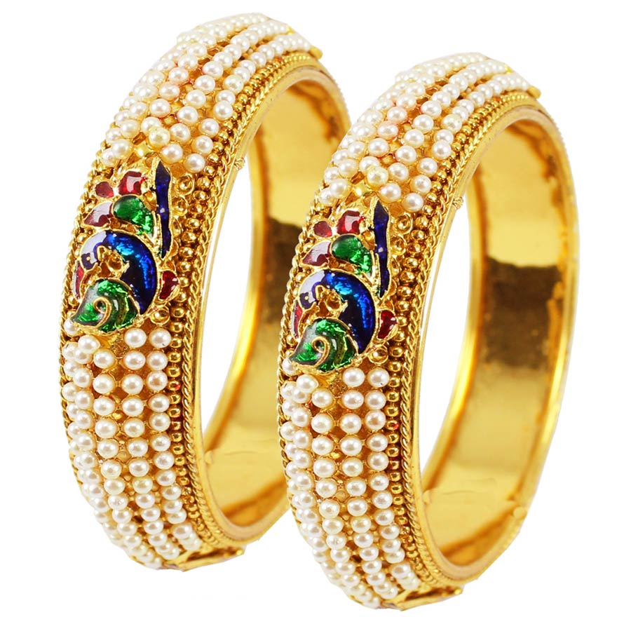 Gold Rodium PolishMulticolor Bangles in Metal Alloy with Pearl