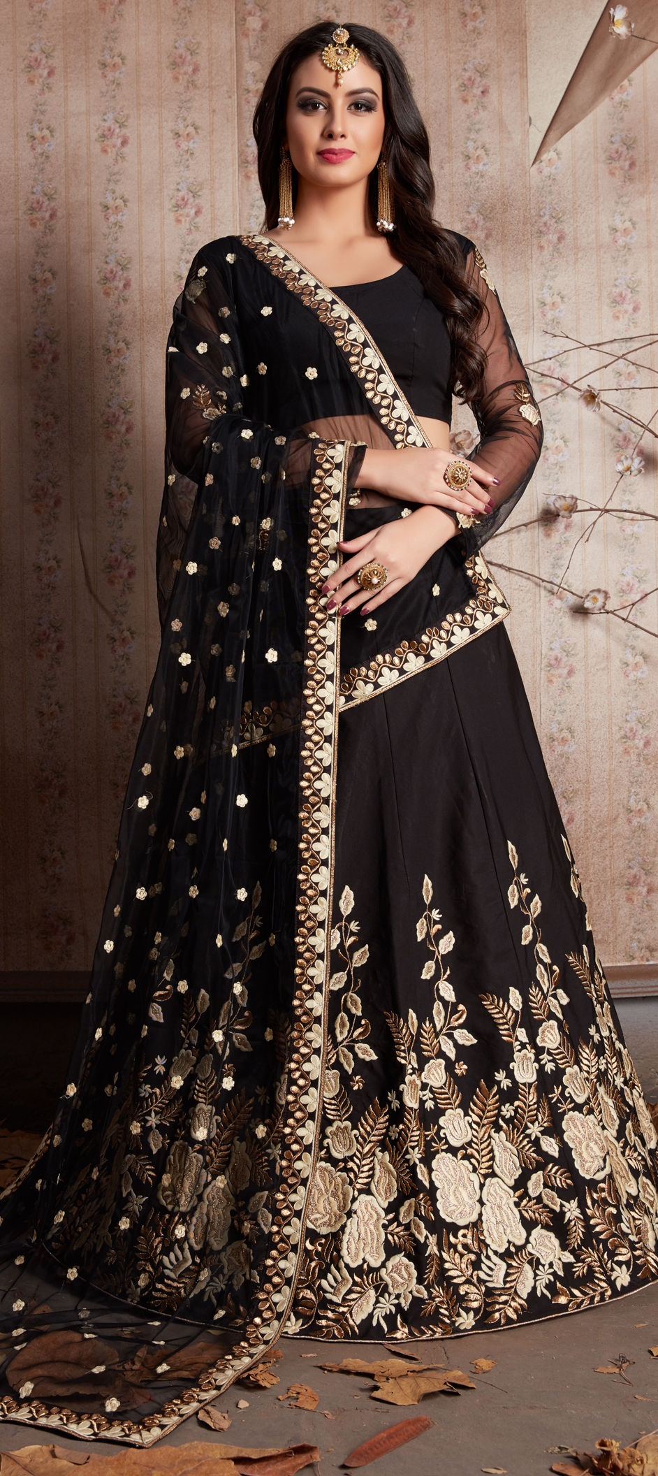 Crepe Silk Mehendi Sangeet Lehenga in Black and Grey with Sequence work