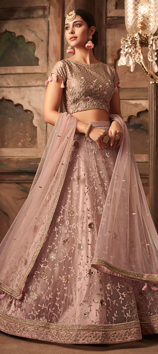 Net Bridal Lehenga in Pink and Majenta with Stone work