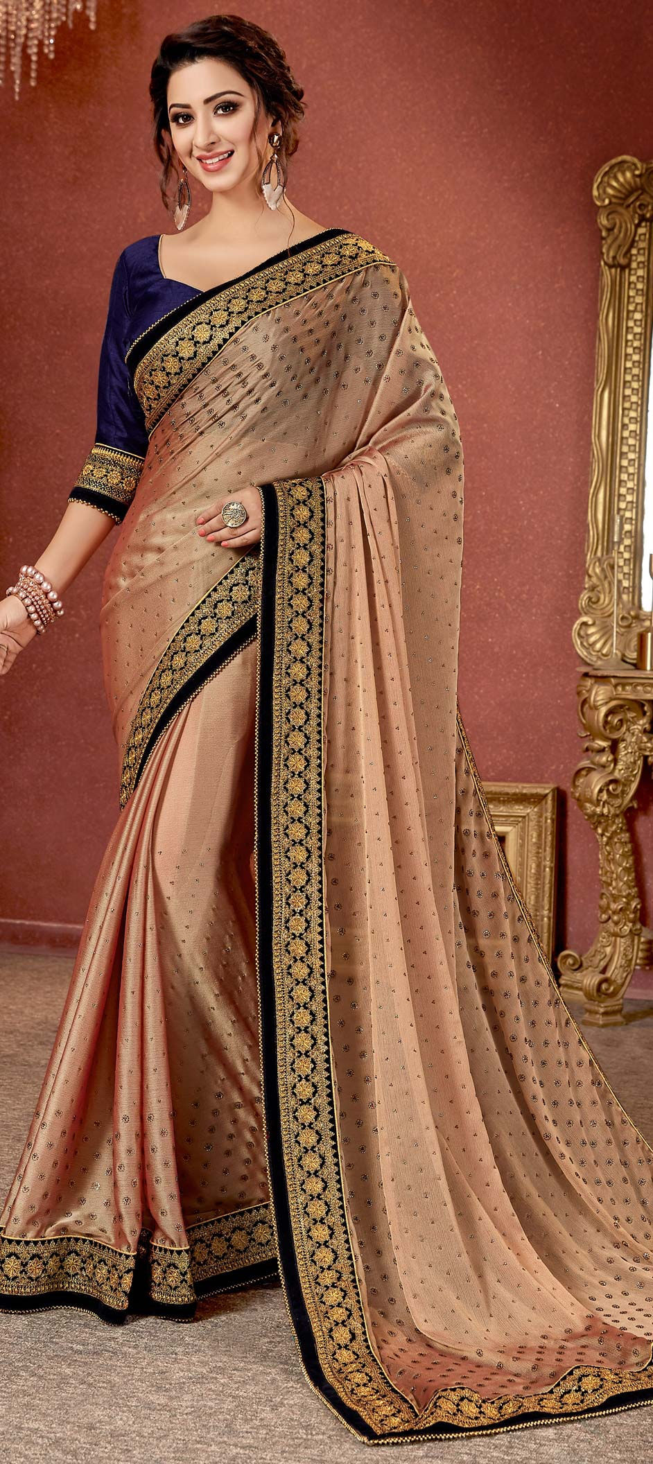 Chiffon Bollywood Saree in Pink and Majenta with Stone work