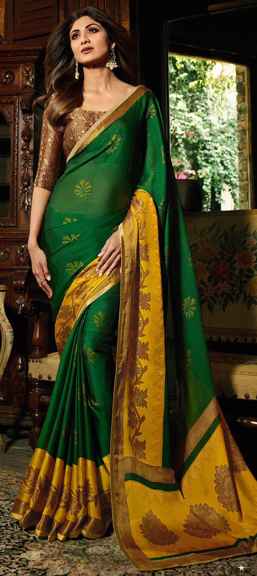Brasso Bollywood Saree in Green with Printed work