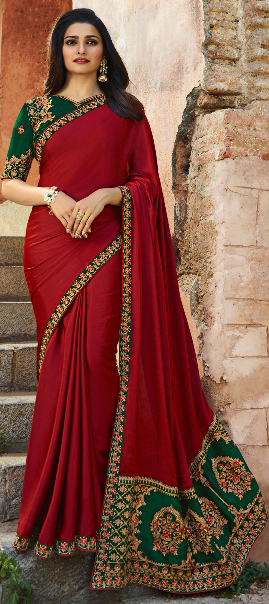 Faux Georgette Bollywood Saree in Red and Maroon with Resham work