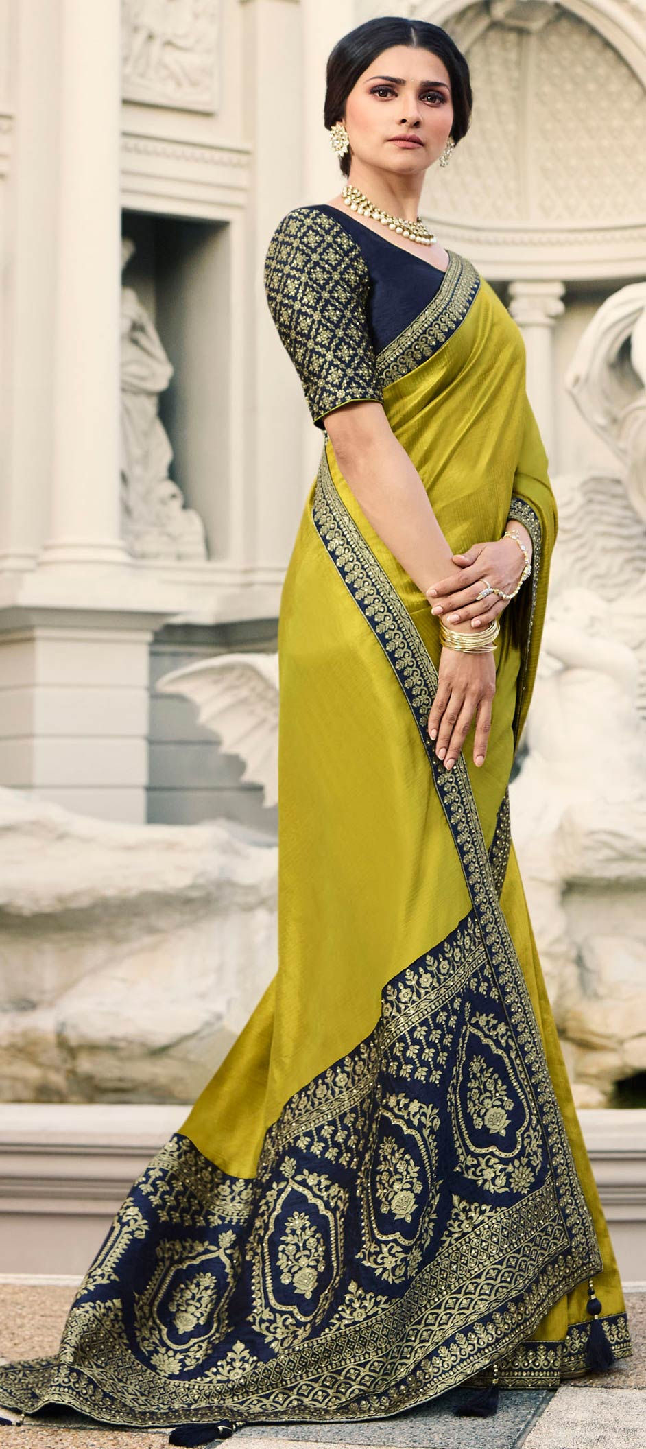 Art Silk Bollywood Saree in Yellow with Embroidered work