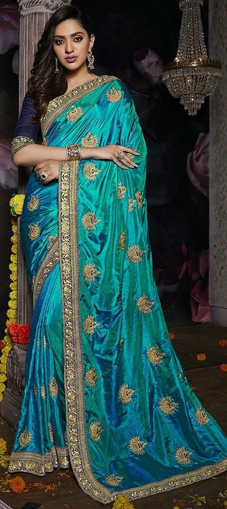 Silk Bollywood Saree in Blue with Thread work