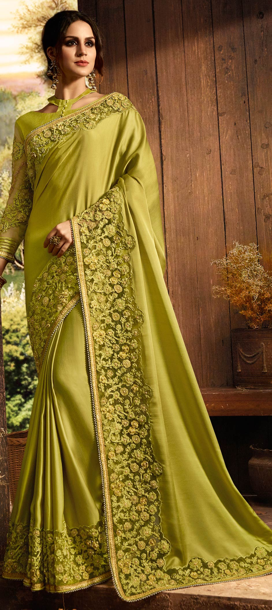 Silk Bollywood Saree in Green with Thread work