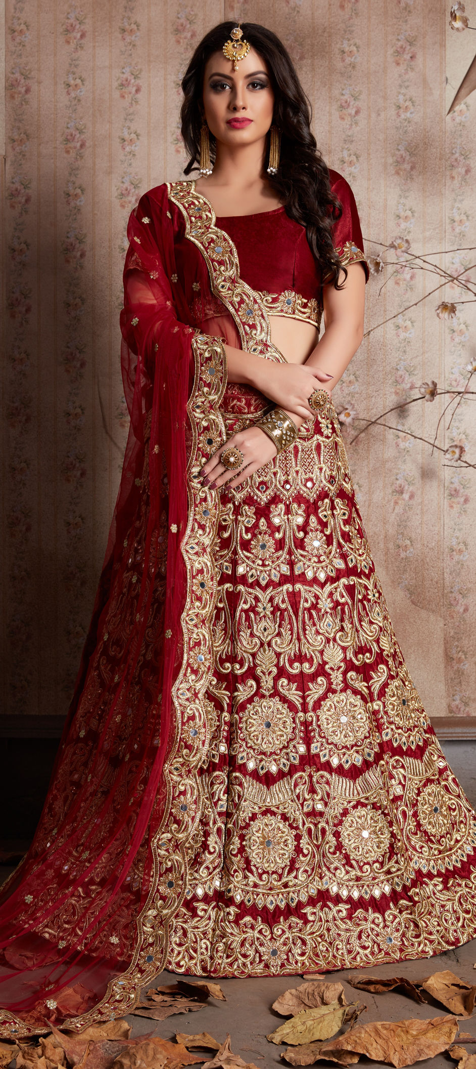 Semi Velvet Wedding Lehenga in Red and Maroon with Zari work