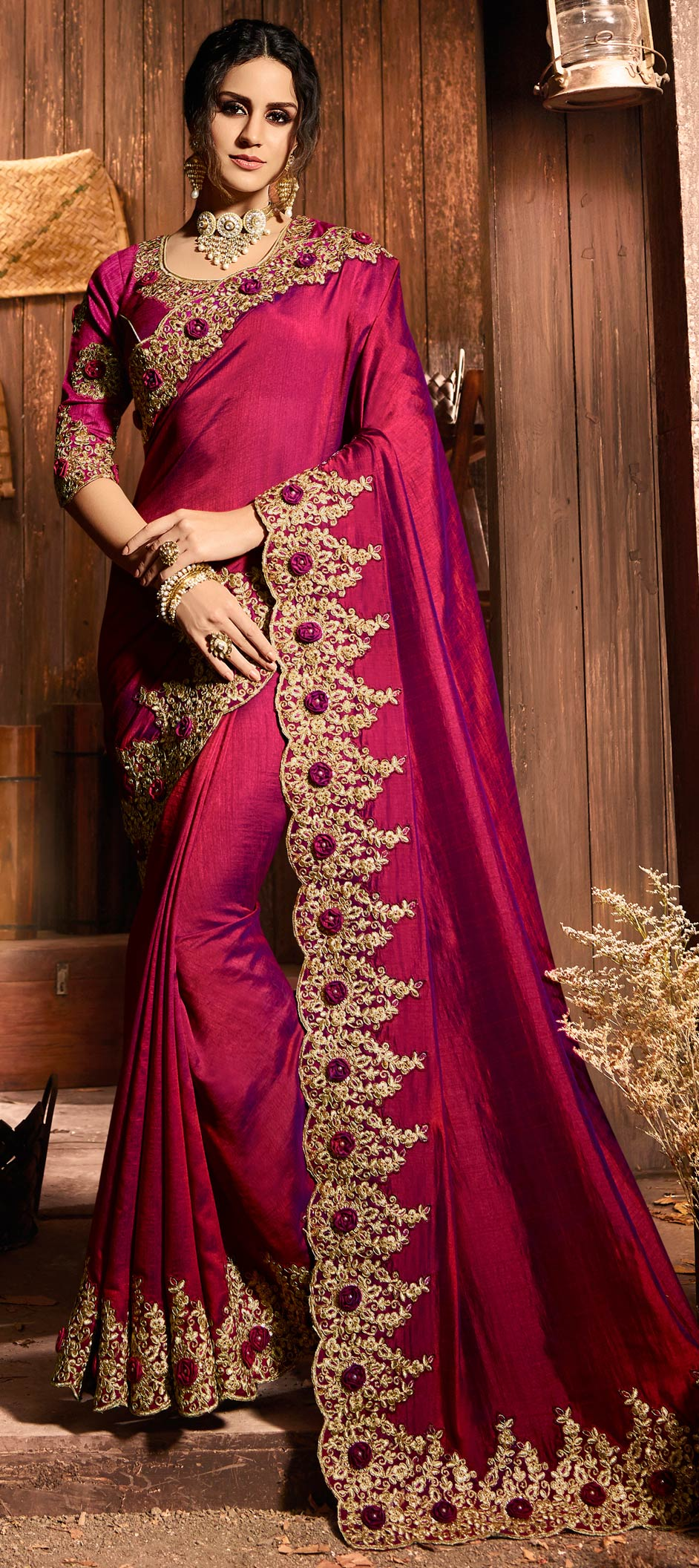 Silk Bollywood Saree in Pink and Majenta with Embroidered work