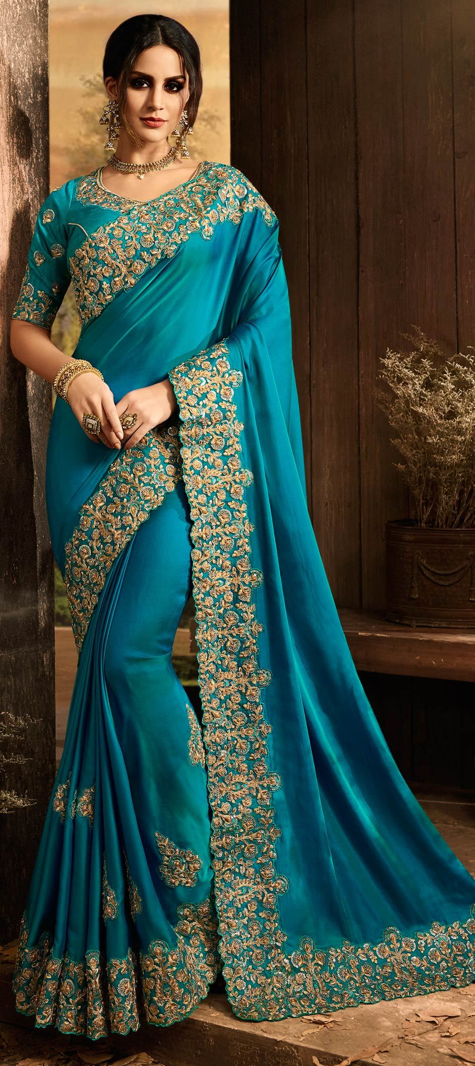 Silk Bollywood Saree in Blue with Resham work
