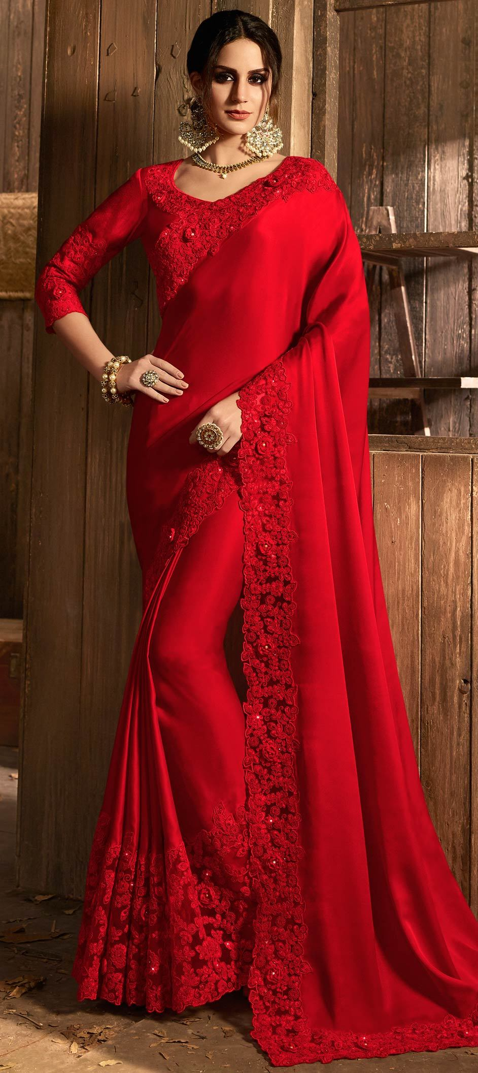 Net Bollywood Saree in Red and Maroon with Moti work
