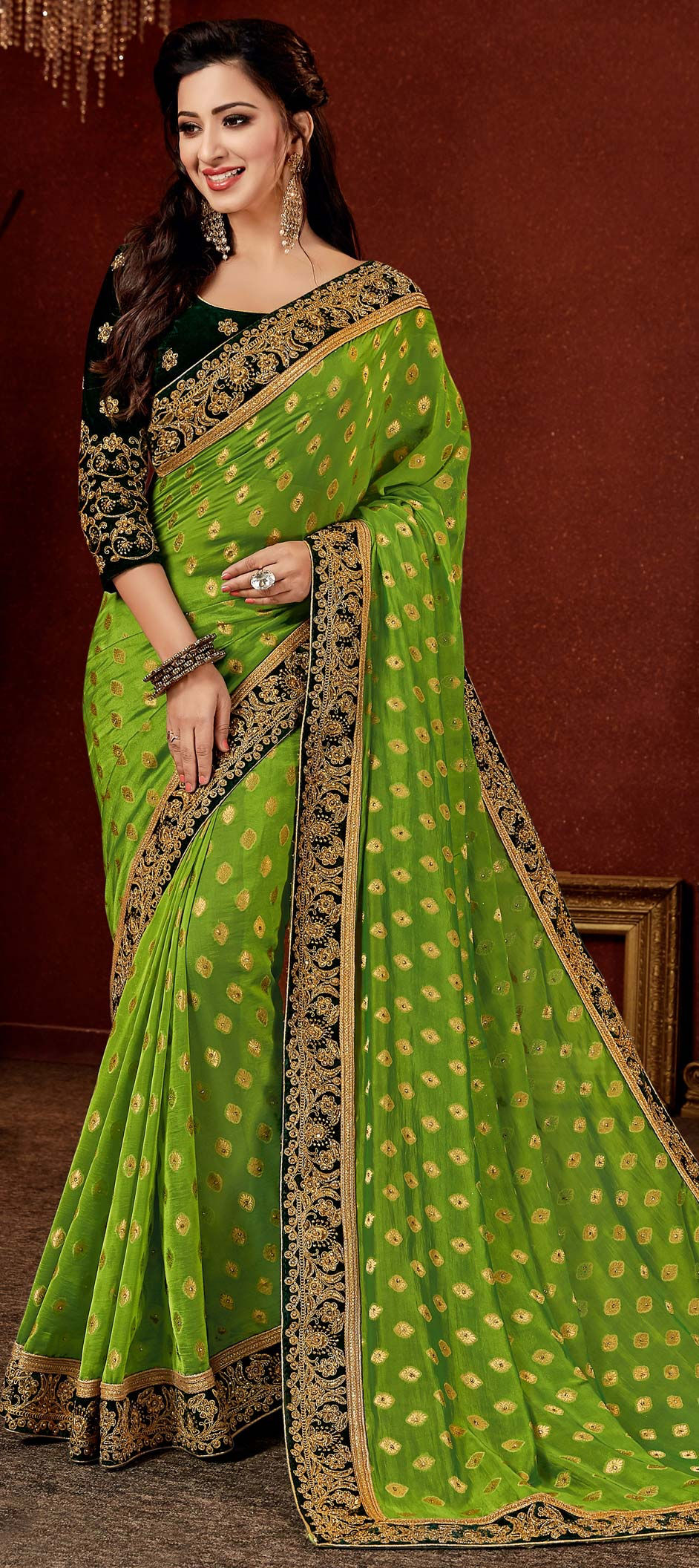 Brocade Bollywood Saree in Green with Border work