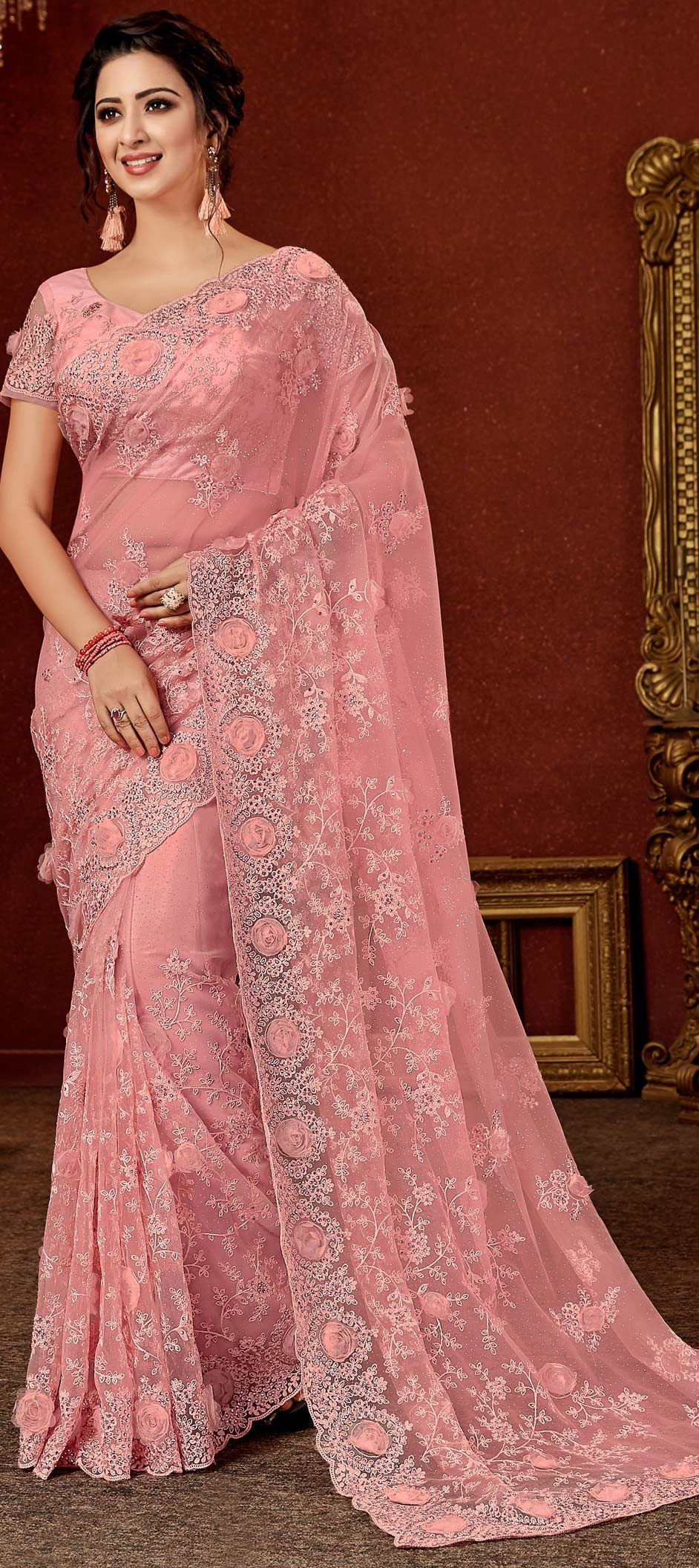 Net Bollywood Saree in Pink and Majenta with Embroidered work