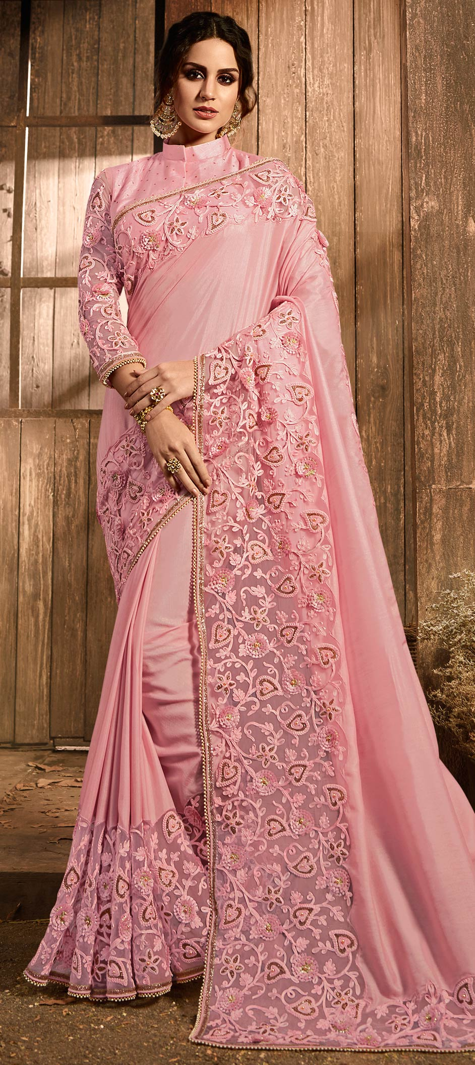 Net Bollywood Saree in Pink and Majenta with Lace work