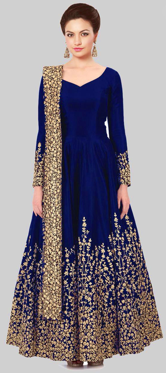 Taffeta Silk Party Wear Salwar Kameez in Blue with Zari work