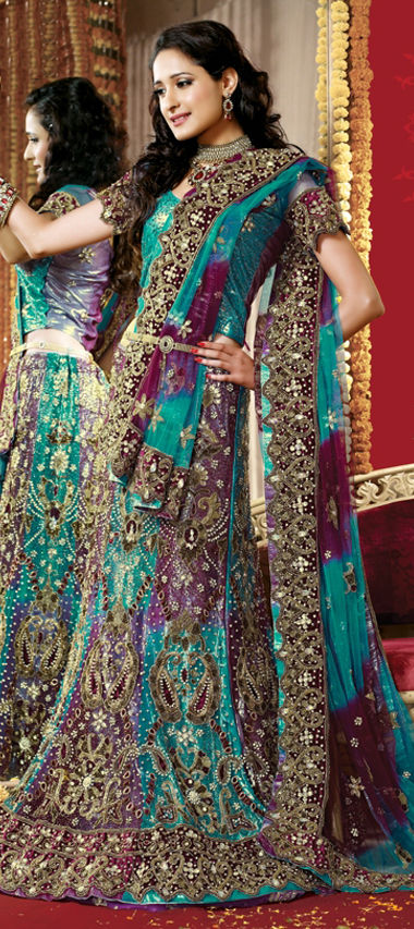 Net Bridal Lehenga in Purple and Violet with Cut Dana work