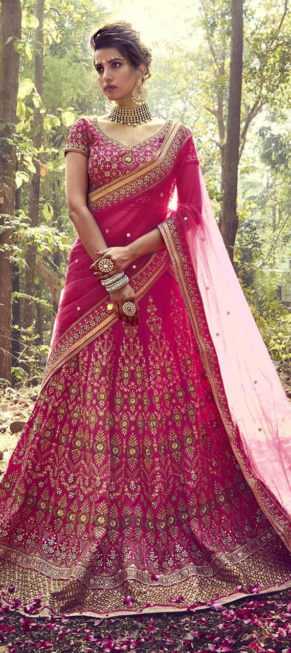 Silk Bollywood Lehenga in Pink and Majenta with Zircon work