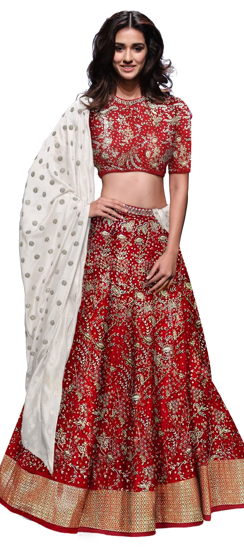Silk Bollywood Lehenga in Red and Maroon with Embroidered work