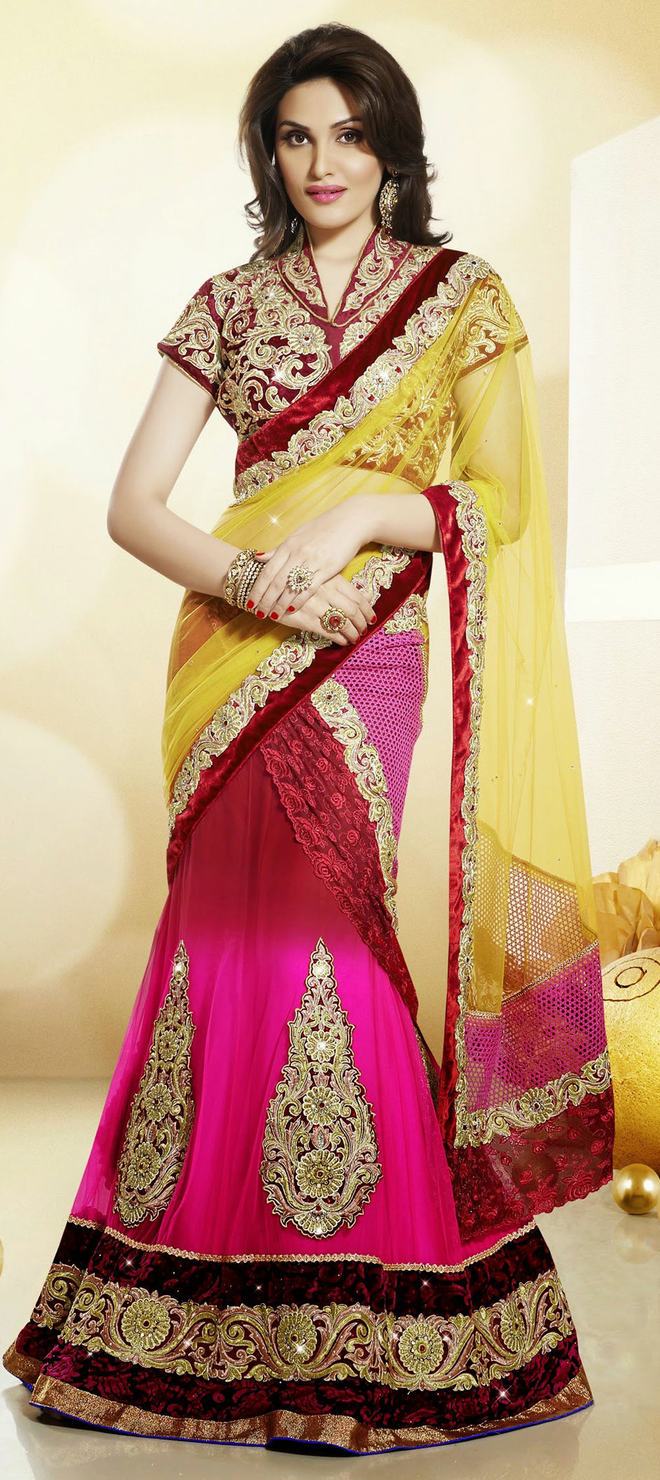Net Bollywood Lehenga in Red and Maroon with Stone work
