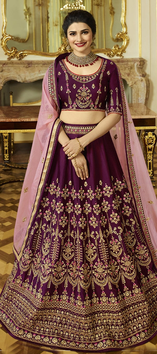 Satin Silk Bollywood Lehenga in Purple and Violet with Zari work