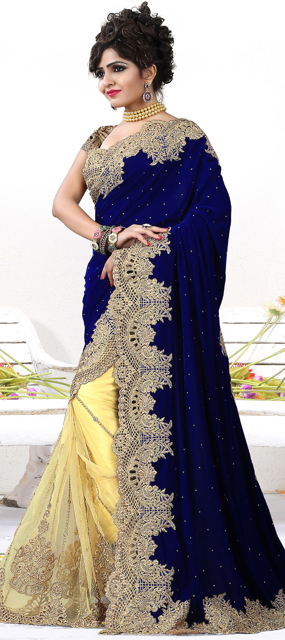 Net Bridal Saree in Yellow with Embroidered work