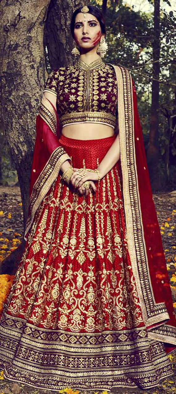 Art Dupion Silk Bollywood Lehenga in Red and Maroon with Thread work