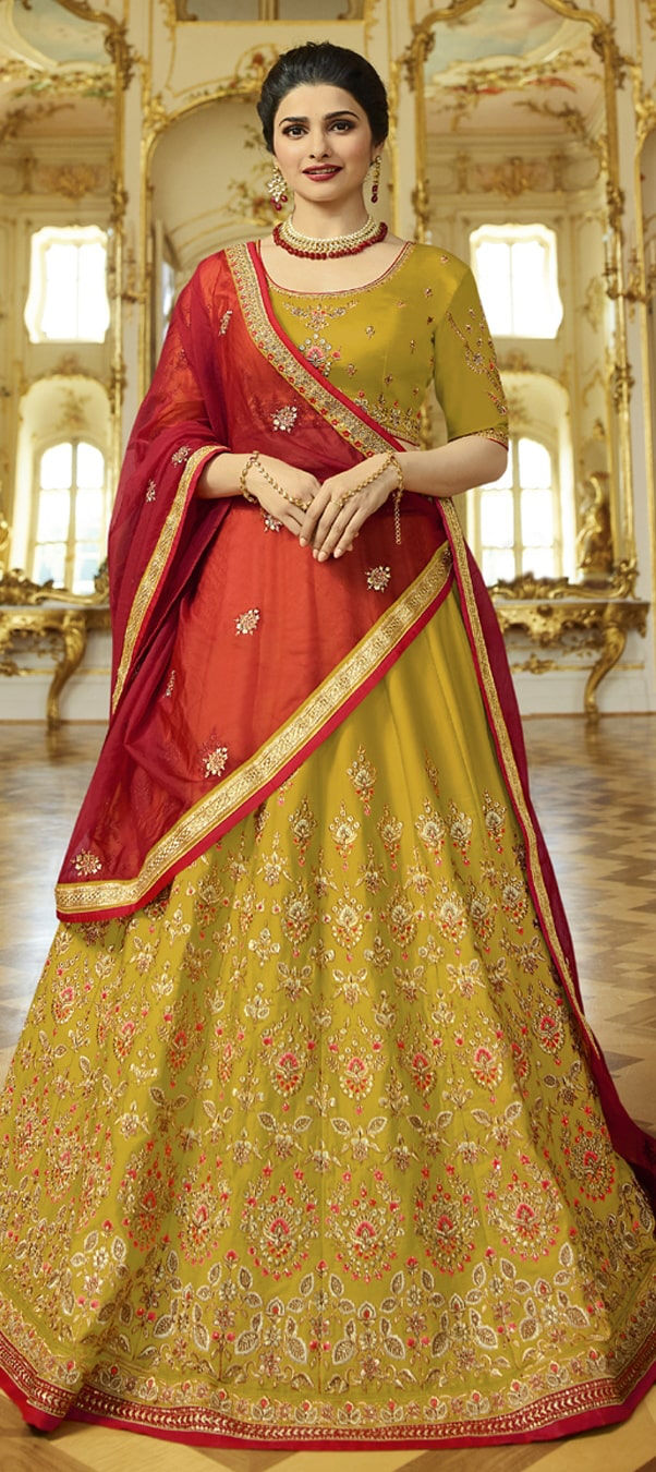 Satin Silk Bollywood Lehenga in Yellow with Embroidered work