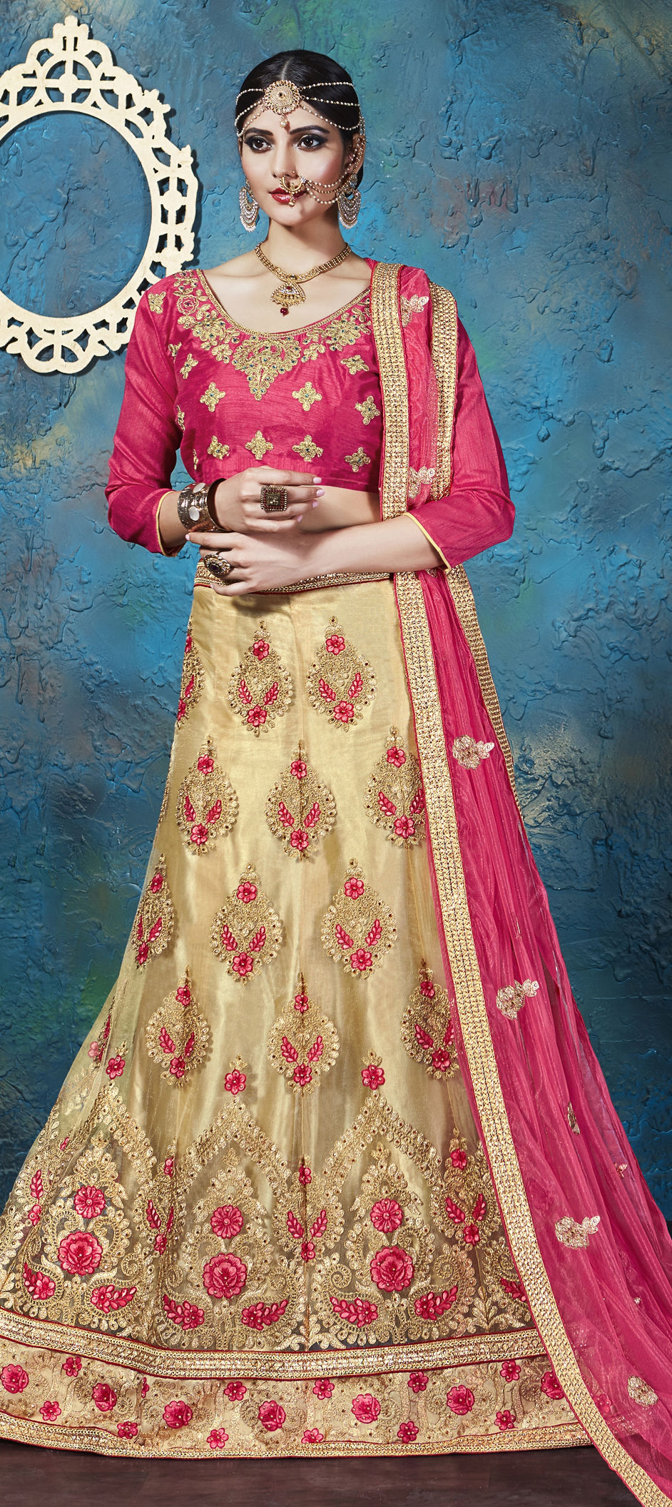 Net Bollywood Lehenga in Beige and Brown with Stone work