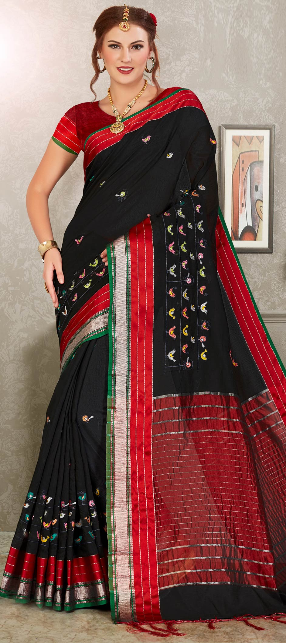 Cotton Designer Saree in Black and Grey with Embroidered work