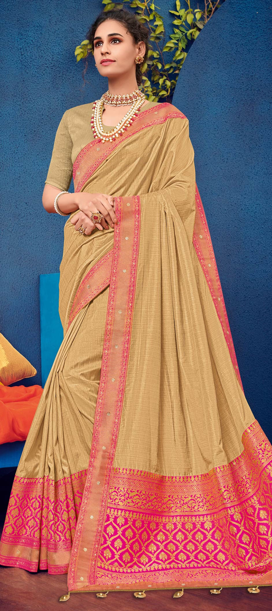 Silk Designer Saree in Beige and Brown with Embroidered work