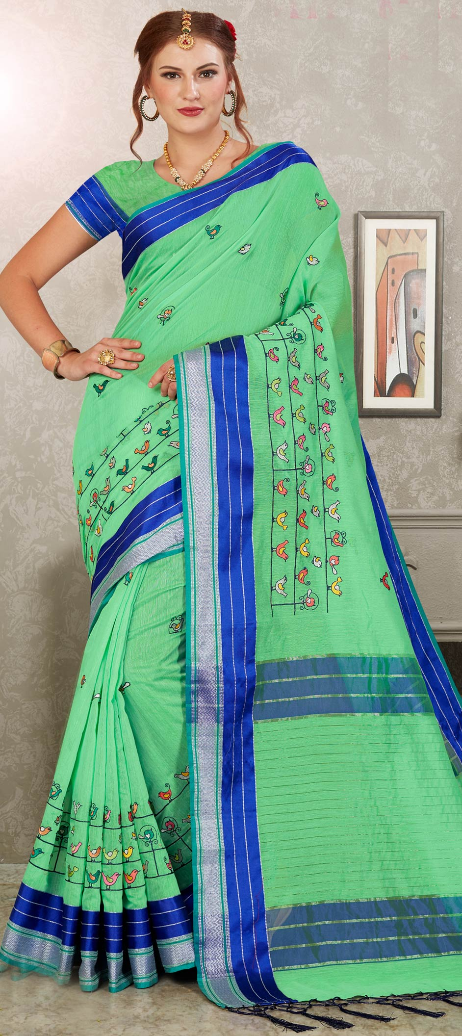 Cotton Designer Saree in Green with Embroidered work