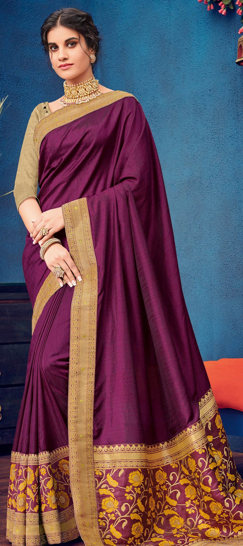 Silk Designer Saree in Purple and Violet with Embroidered work