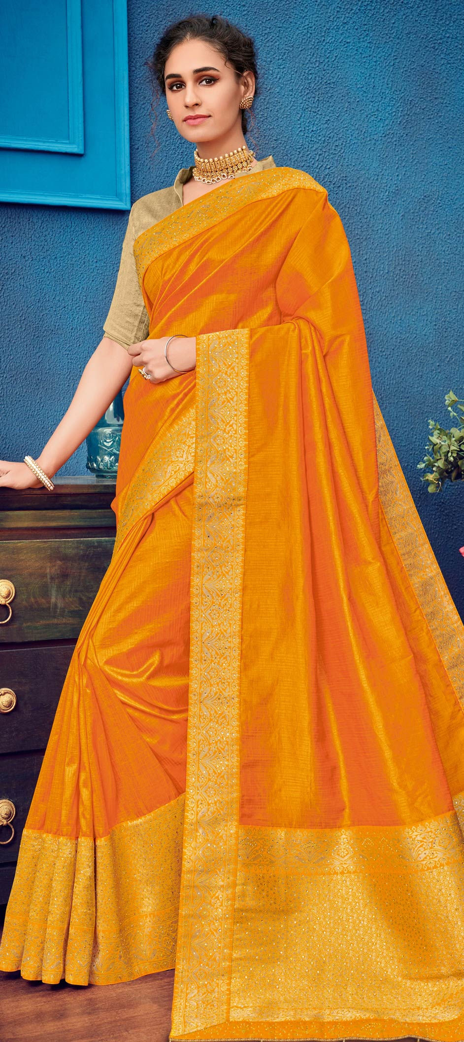 Traditional Saree in Yellow with Thread work