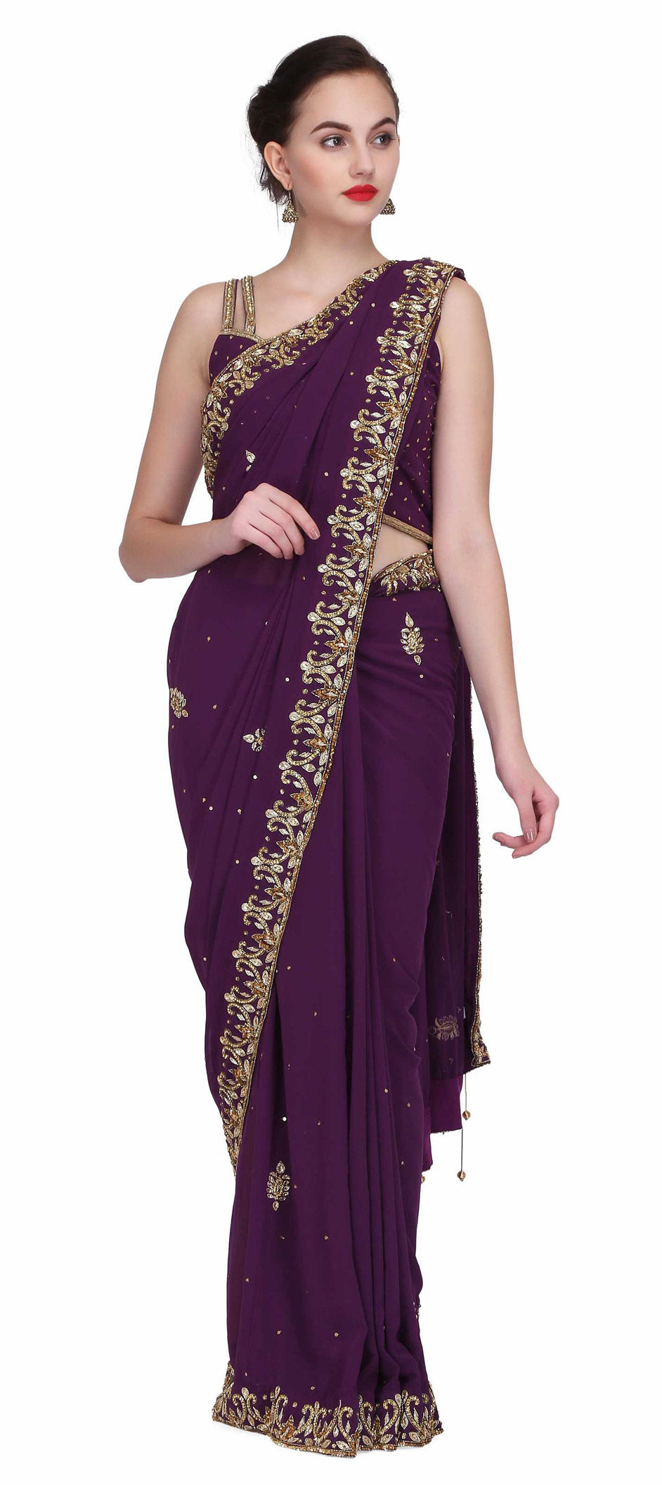 Georgette Party Wear Saree in Purple and Violet with Zari work