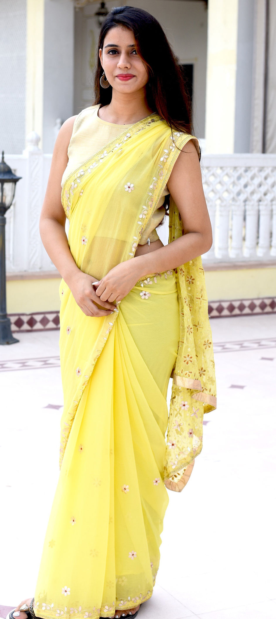 Cotton Traditional Saree in Yellow with Gota Patti work