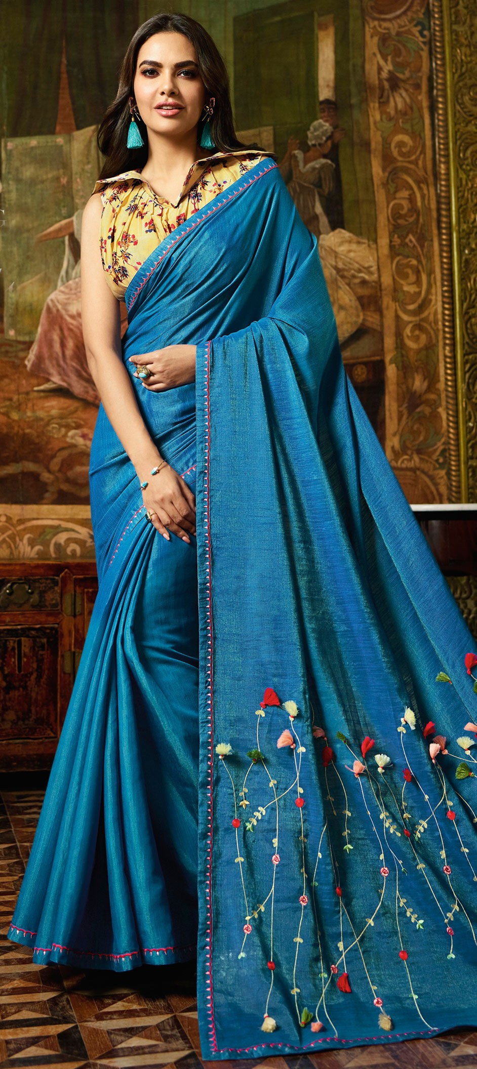 Art Silk Bollywood Saree in Blue with Embroidered work