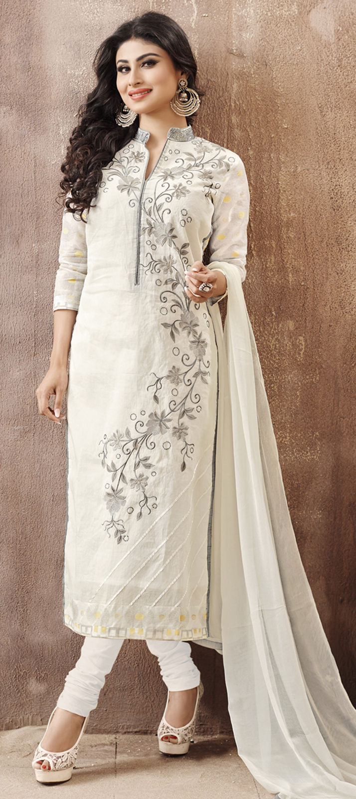 Cotton Bollywood Salwar Kameez in White and Off White with Resham work