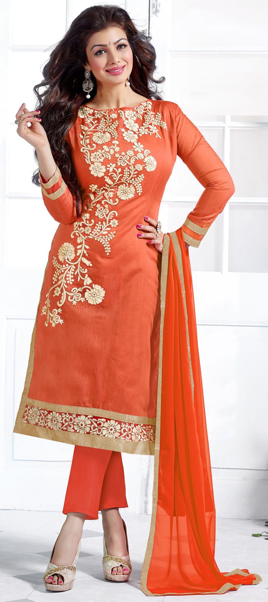 Chanderi Silk Bollywood Salwar Kameez in Orange with Lace work
