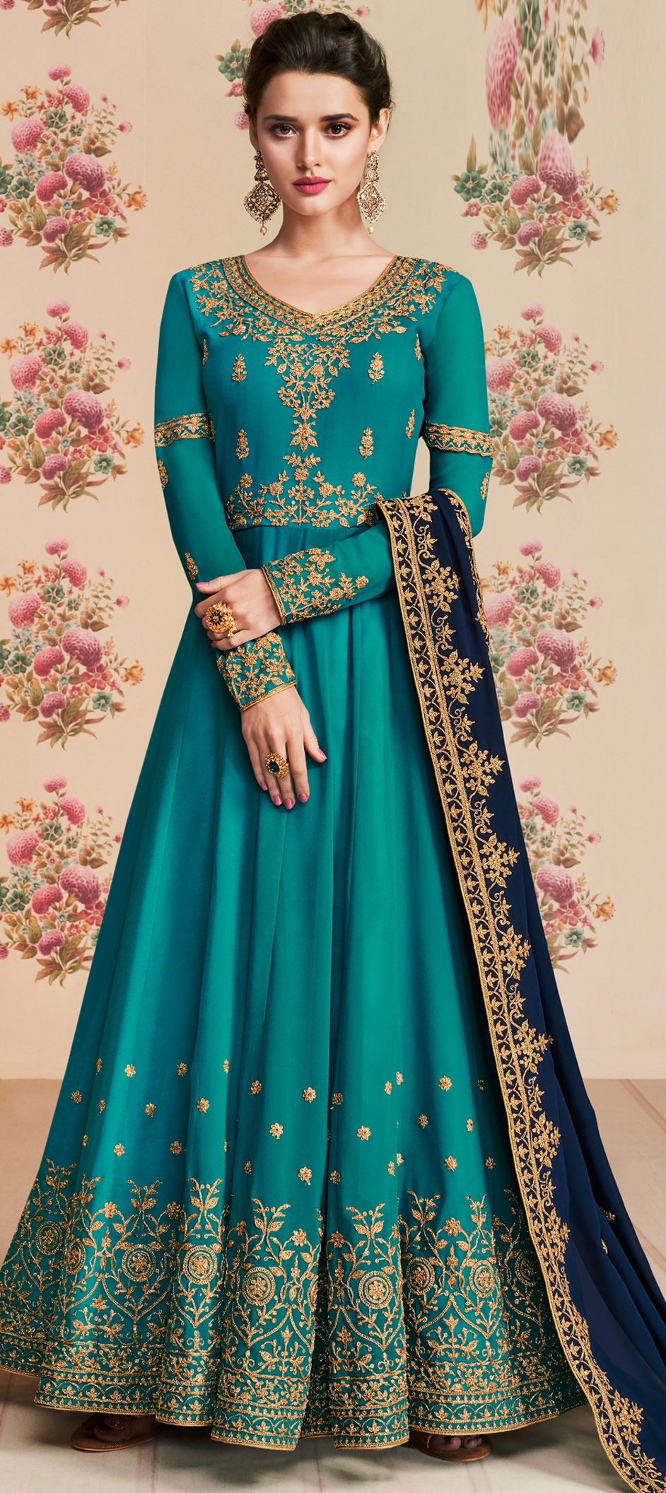 Georgette Bollywood Salwar Kameez in Blue with Stone work