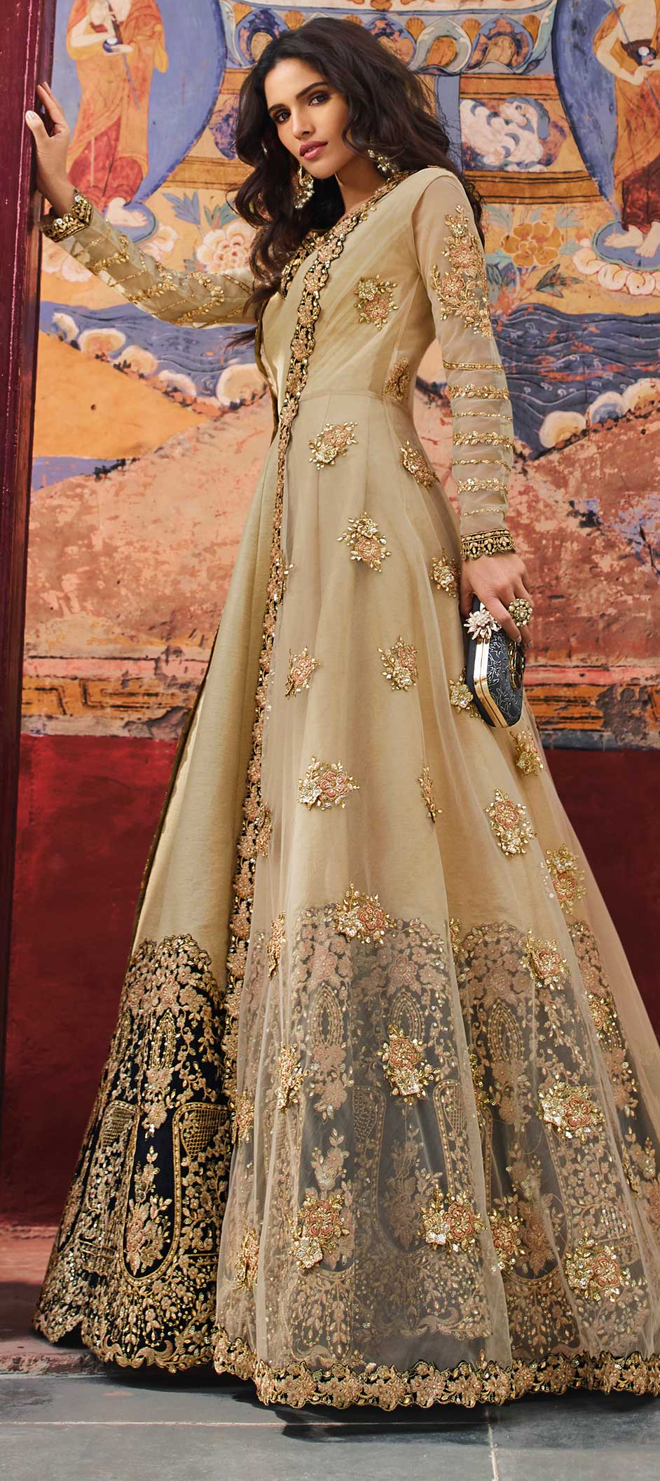 Net Bollywood Salwar Kameez in Beige and Brown with Moti work