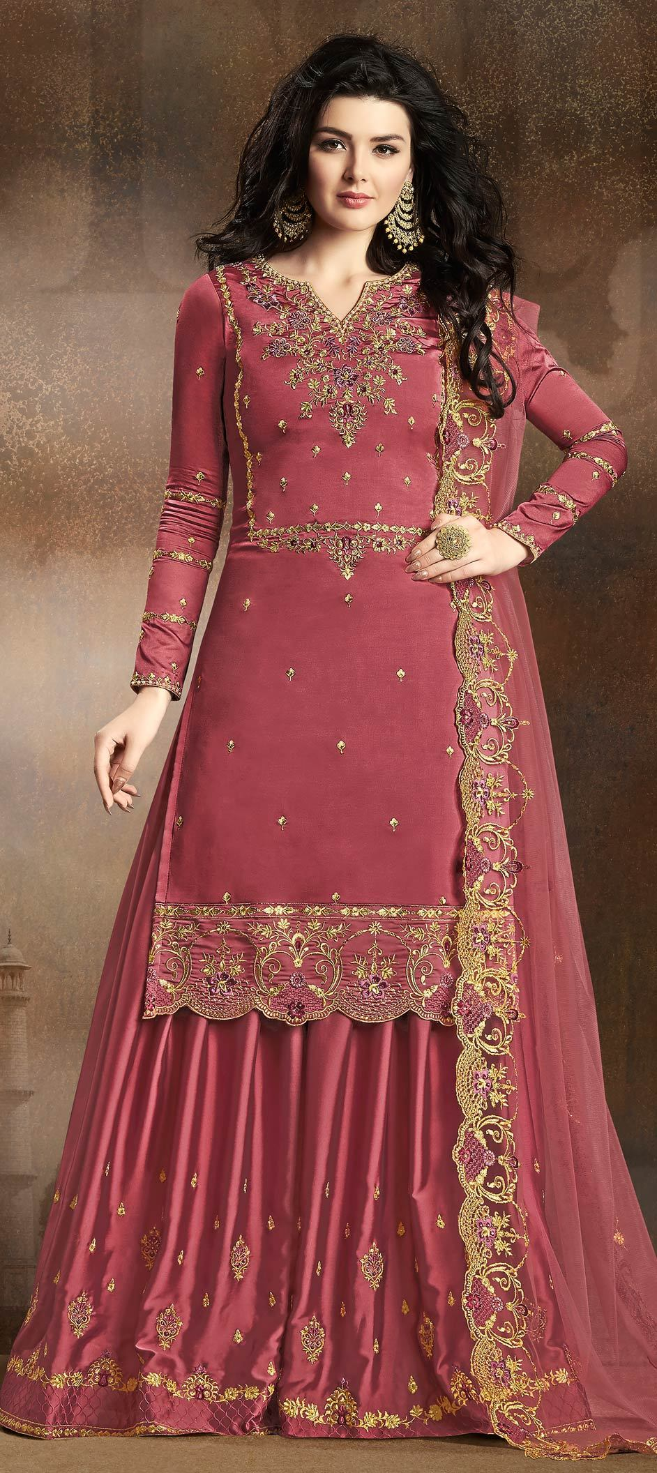 Silk Bollywood Salwar Kameez in Pink and Majenta with Resham work