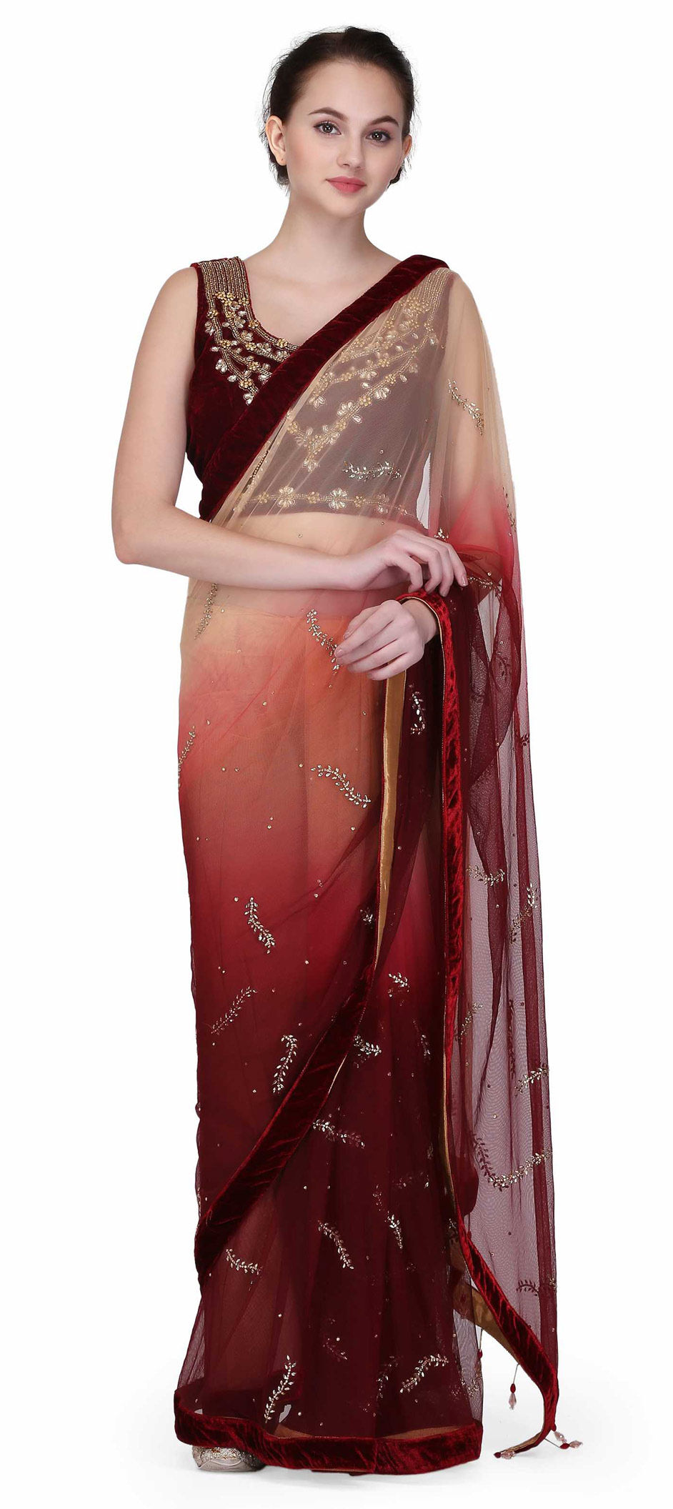 Net Designer Saree in Beige and Brown with Zircon work