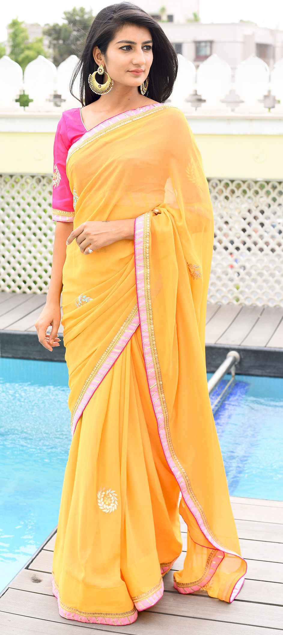 Silk Festive Saree in Yellow with Lace work