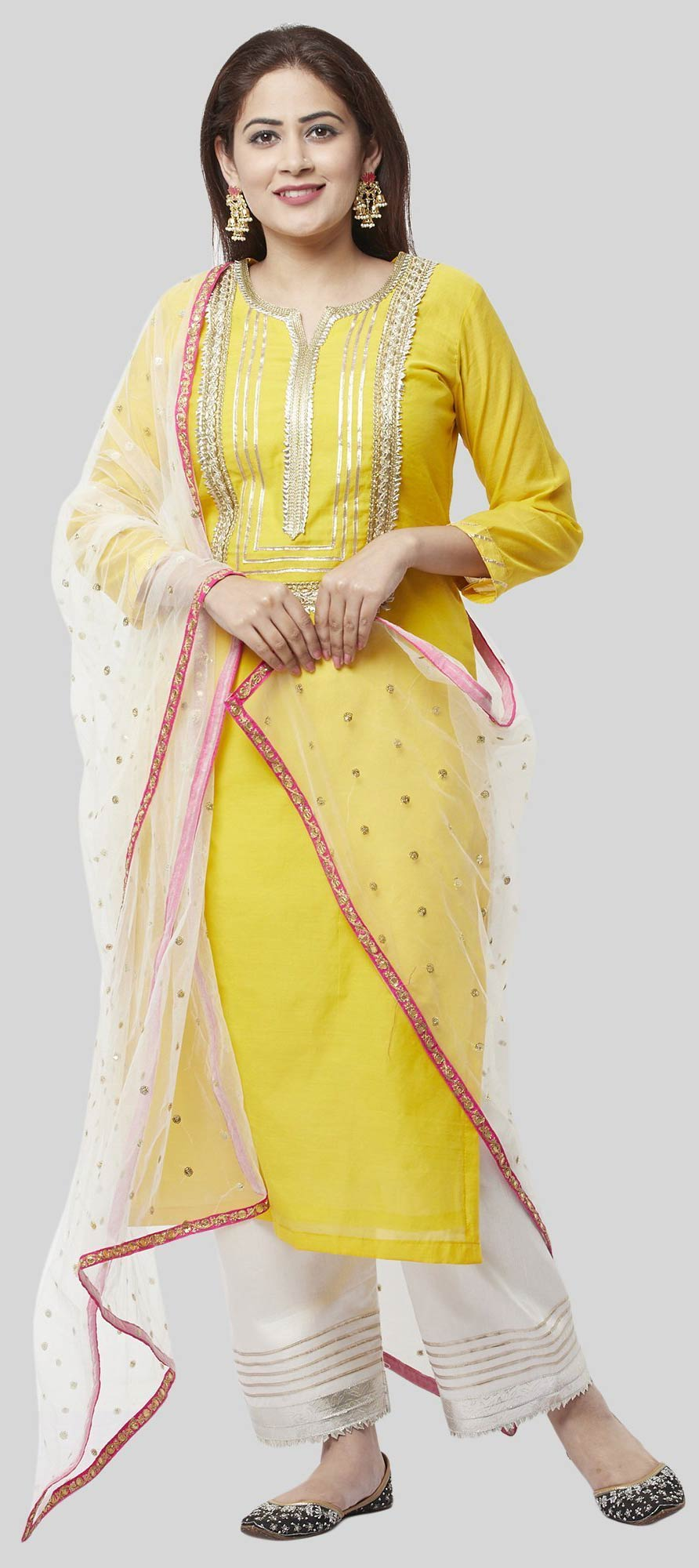 Chanderi Silk Party Wear Salwar Kameez in Yellow with Gota Patti work