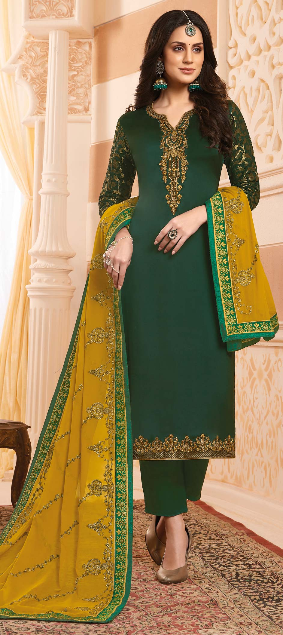 Satin Silk Party Wear Salwar Kameez in Green with Thread work