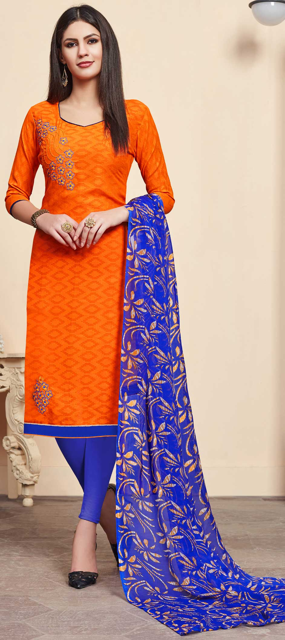 Jacquard Casual Salwar Kameez in Orange with Printed work