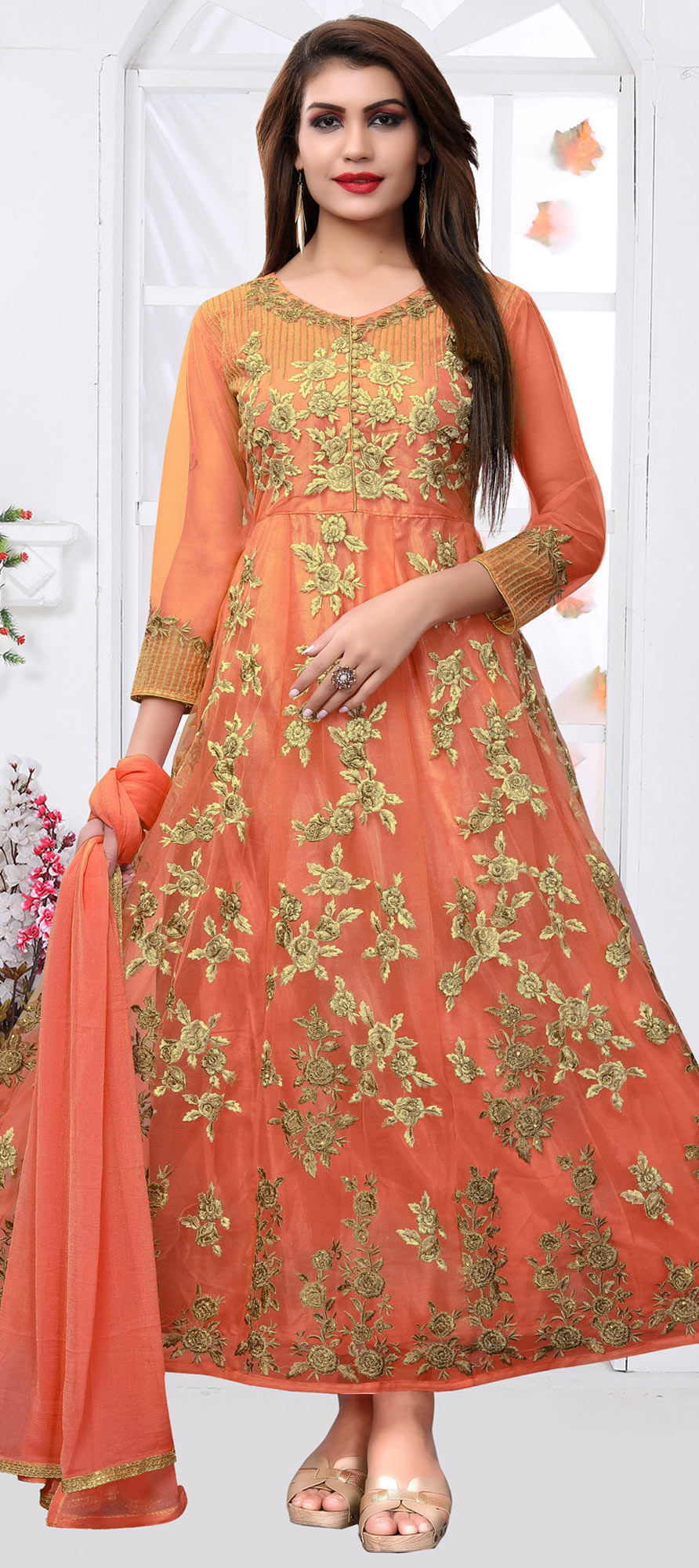 Net Casual Salwar Kameez in Orange with Thread work