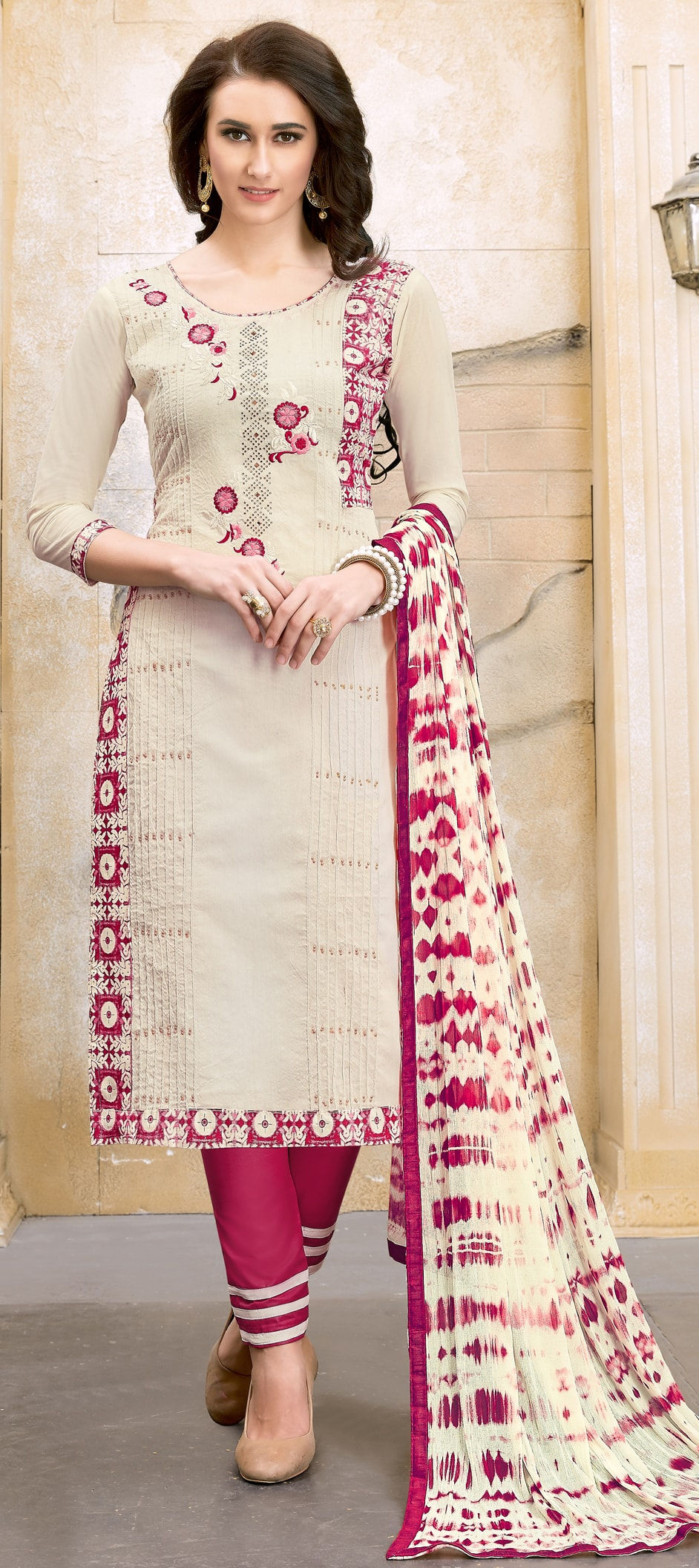Cotton Bollywood Salwar Kameez in White and Off White with Zari work